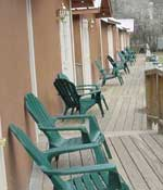 A look down the porches of the cabins